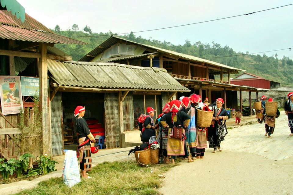 Red Dao hilltribe village in Giang Ha